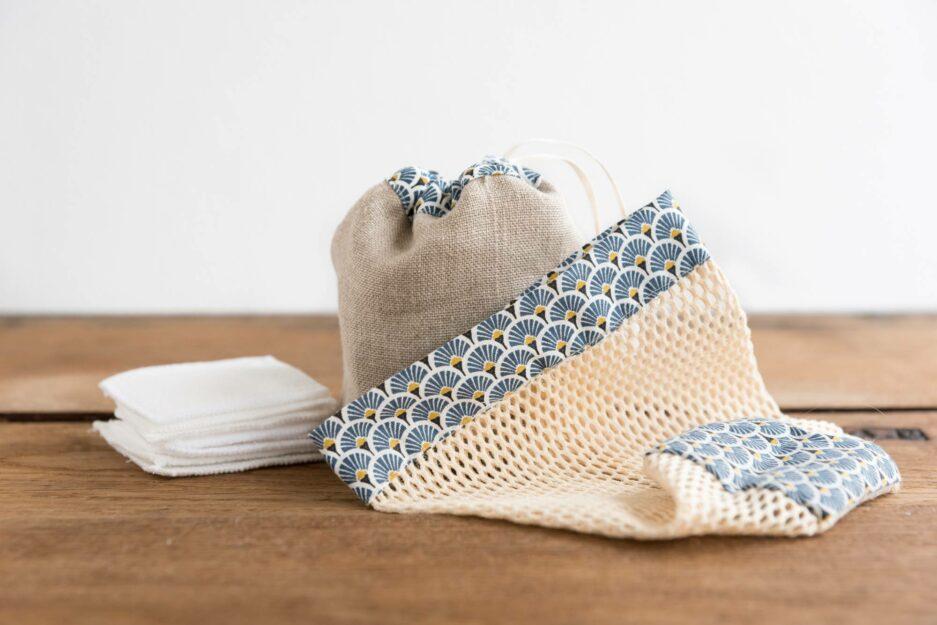 Kit cotons démaquillants lavables - Japonais bleu © ManaMani