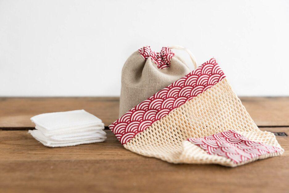 Kit cotons démaquillants lavables -Japonais rouge © ManaMani