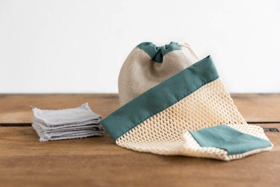 Kit cotons démaquillants lavables - Vert thym © ManaMani