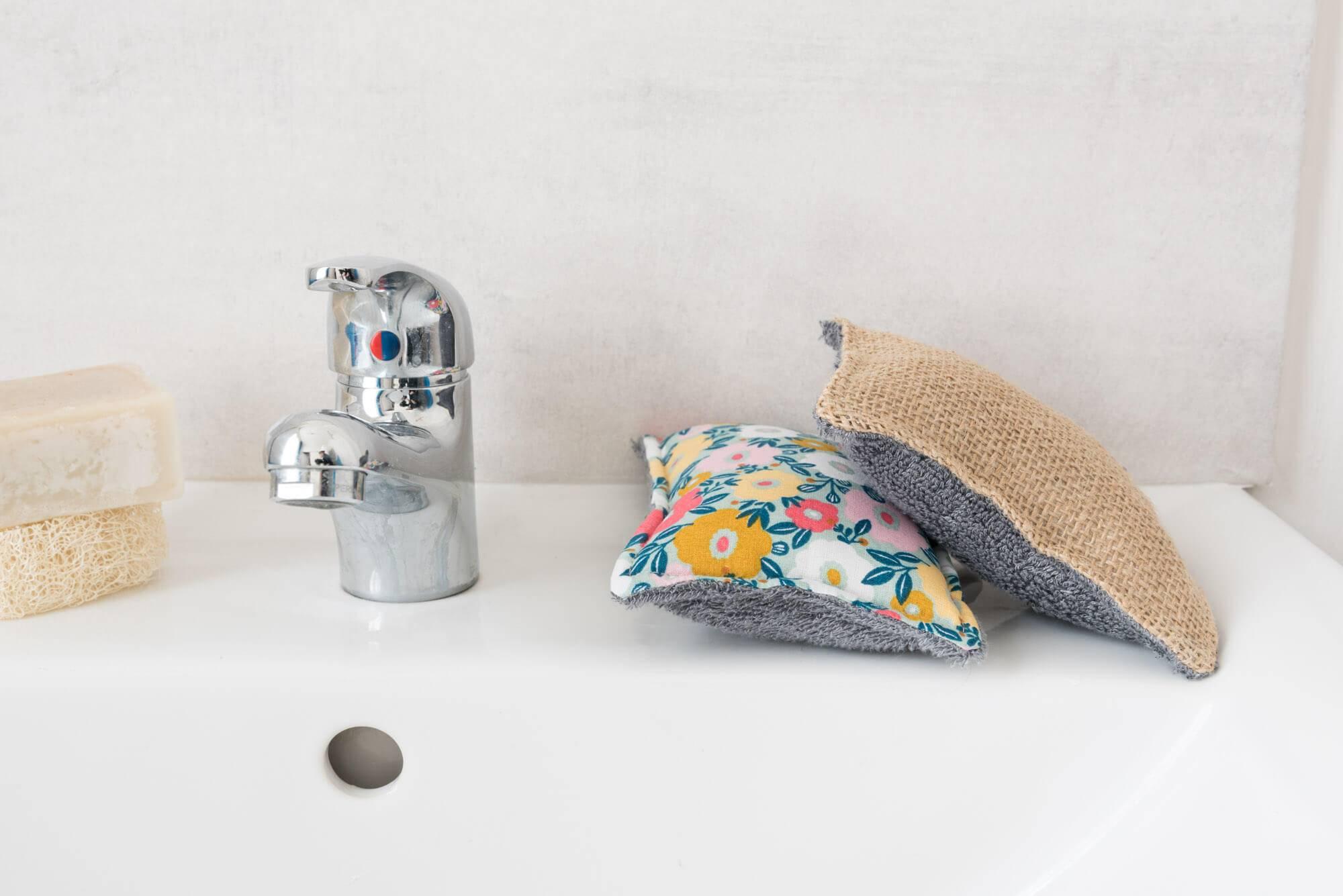 Eponges lavabes en jute+coton pour la vaisselle et bambou+coton pour la cuisine et la salle de bain