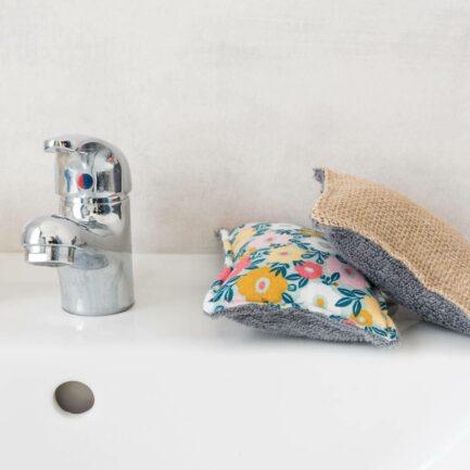 Eponge lavable - coloris salle de bain cuisine ou salle de bain: bambou+jute ou bambou+coton