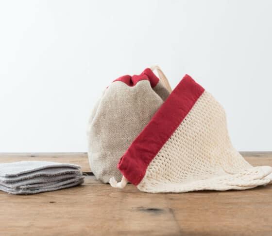 Kit cotons démaquillants lavables - Rouge Carmin